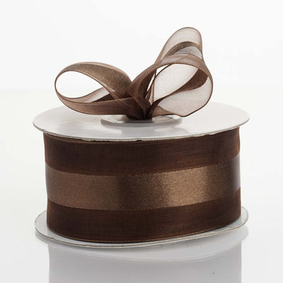 "25 yards 1.5"" Chocolate Satin Center Ribbon"