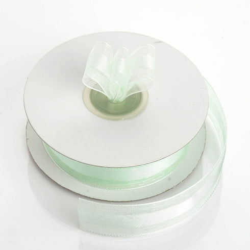 "25 Yards 7/8"" Mint Organza Satin Center Ribbon"