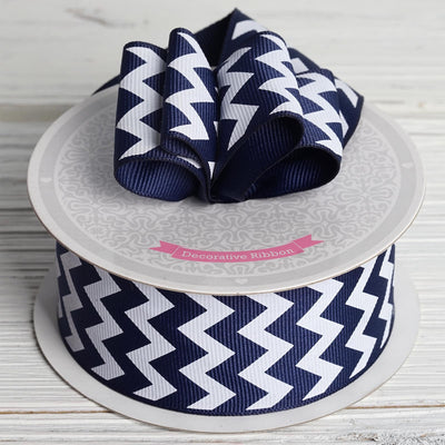 "1.5"" Upbeat Chevron Ribbons - Navy Blue - 10 Yard"