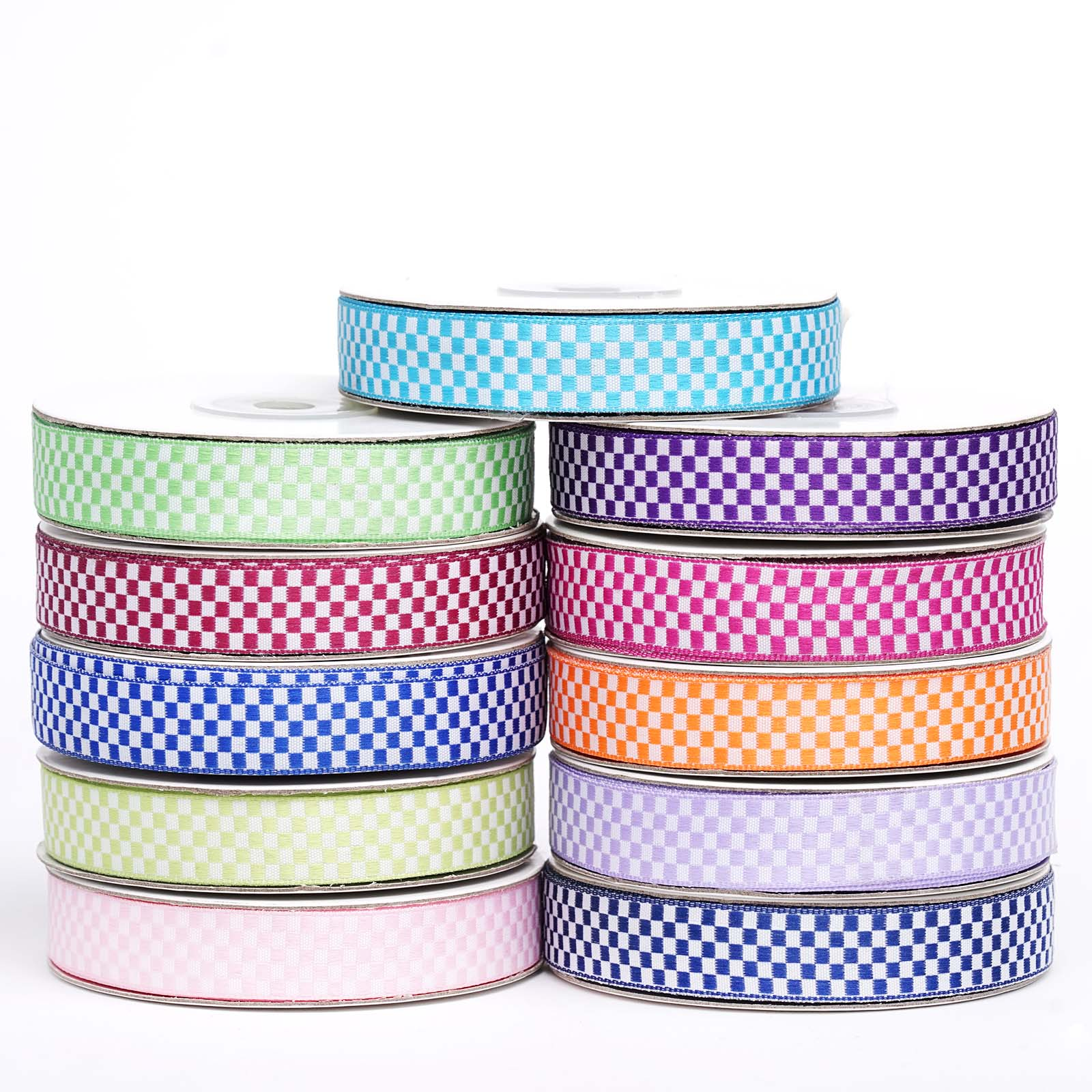 """5//8/"""" x 25yrds per roll Checkered Ribbons For Wedding Party Decoration DIY"""