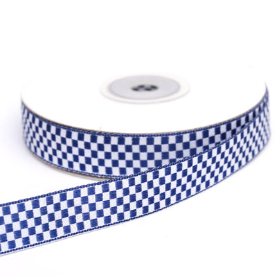 "25 Yards 5/8"" Navy Blue Gingham Checkered Ribbon"
