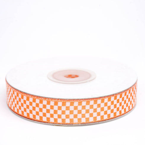 "25 Yards 5/8"" Orange Gingham Checkered Ribbon"