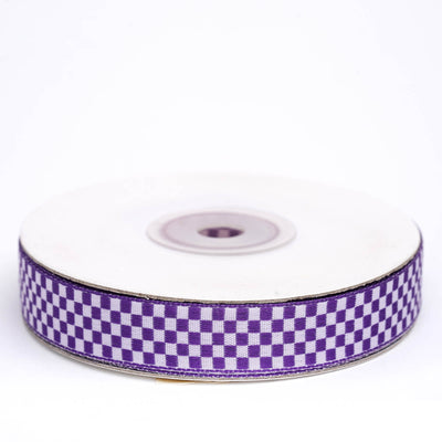 "25 Yards 5/8"" Purple Gingham Checkered Ribbon"