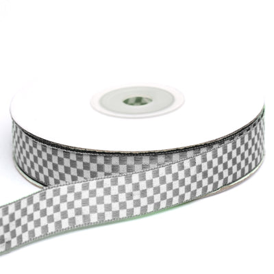 "25 Yards 5/8"" Silver Gingham Checkered Ribbon"