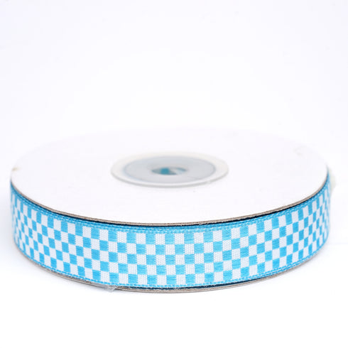 "25 Yards 5/8"" Turquoise Gingham Checkered Ribbon"