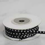 "25 Yards 1/8"" Black Satin Polka Dot Ribbon"