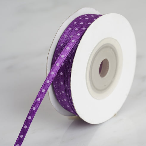 "25 Yards 1/8"" Eggplant Satin Polka Dot Ribbon"