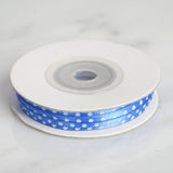 "25 Yards 1/8"" Royal Blue Satin Polka Dot Ribbon"