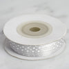 "25 Yards 1/8"" Silver Satin Polka Dot Ribbon"