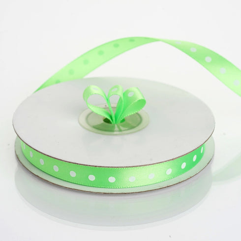 "25 Yards 3/8"" Apple Green Polka Dot Satin Ribbon"