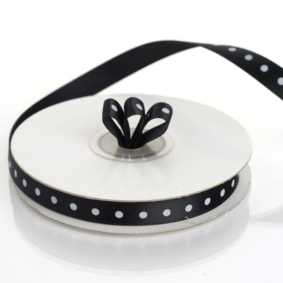 "25 Yards 3/8"" Black Polka Dot Satin Ribbon"