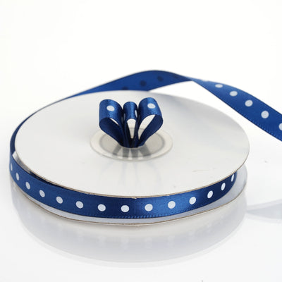 "25 Yards 3/8"" Navy Blue Grosgrain Polka Dot Satin Ribbon"