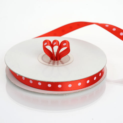 "25 Yards 3/8"" Red Grosgrain Polka Dot Satin Ribbon"