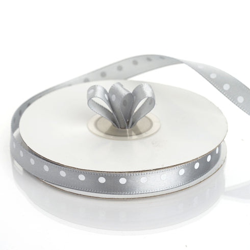 "25 Yards 3/8"" Silver Grosgrain Polka Dot Satin Ribbon"