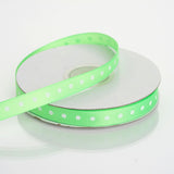 "25 Yards 3/8"" Apple Green Grosgrain Polka Dot Ribbon"