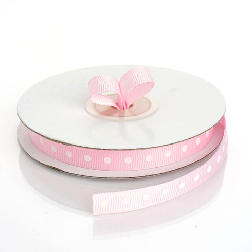 "25 Yards 3/8"" Pink Grosgrain Polka Dot Ribbon"