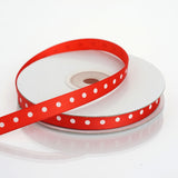 "25 Yards 3/8"" Red Grosgrain Polka Dot Ribbon"