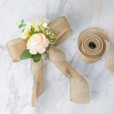 "10 Yards Natural 2.5"" Tone Burlap Wired Ribbon"