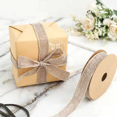 "10 Yards 7/8"" Natural Tone Burlap Ribbons"