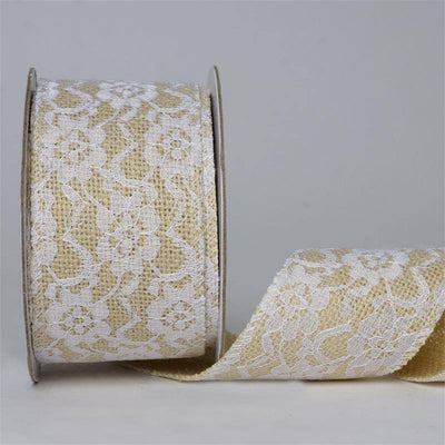 "Gracefully Floral Lace Stitched Burlap Ribbon 2.5"" x 10yards - Natural"