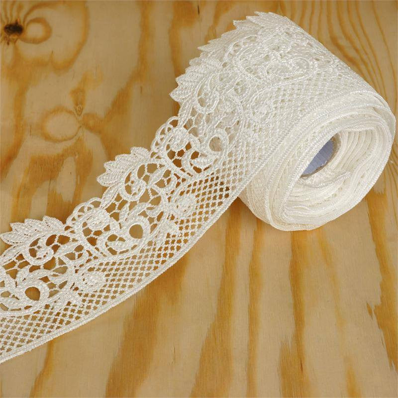"Fanciful Fiddlehead Crocheted Heavy Lace Ribbon Trim 2.75"" x 5yards - White"