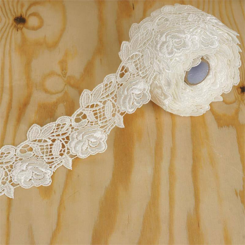 "Camelia Inspired Crocheted Heavy Lace Ribbon Trim 2.36"" x 5yards - White"