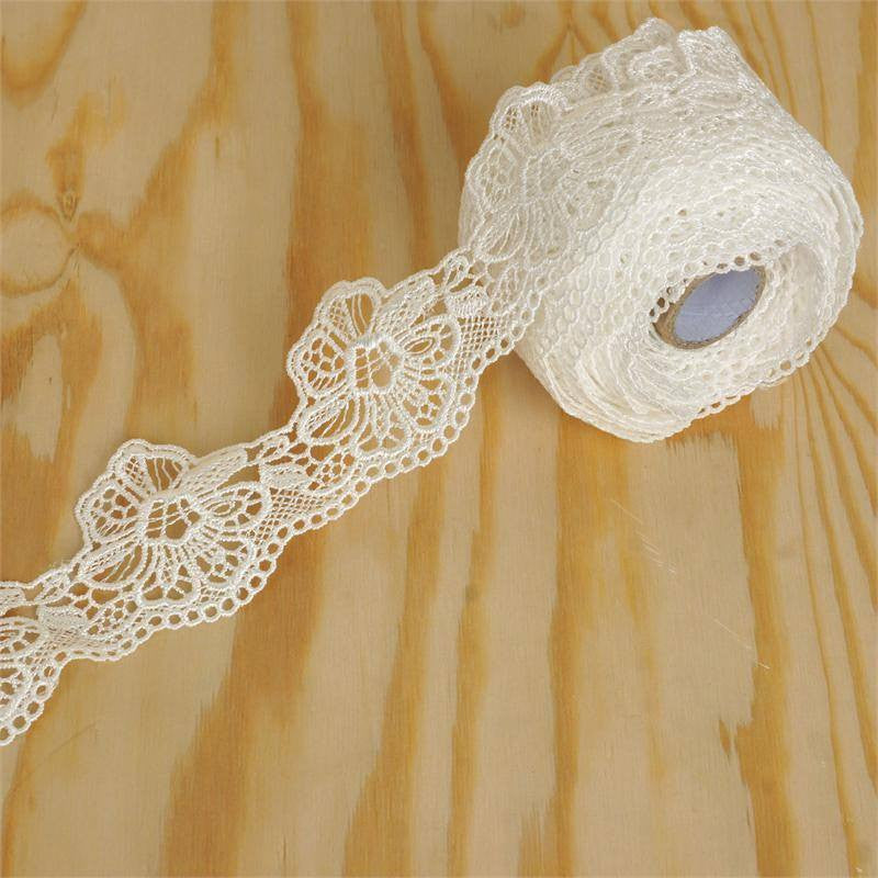 "Bluebell Bonnet Crocheted Heavy Lace Ribbon Trim 1.58"" x 5yards - White"