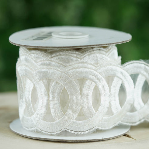 "5 Yards White 2.17"" Ring a Ding Crocheted Heavy Lace Ribbon Trim"