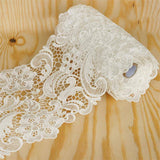 "Wavy Floral Crocheted Heavy Lace Ribbon Trim 6.3"" x 5yards - White"