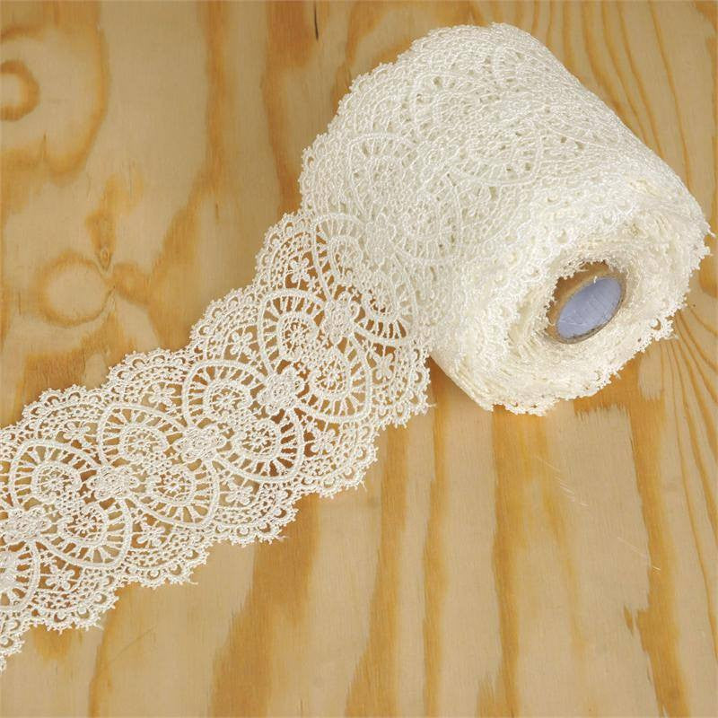 "Have A Hoot Crocheted Heavy Lace Ribbon Trim 3.15"" x 5yards - White"