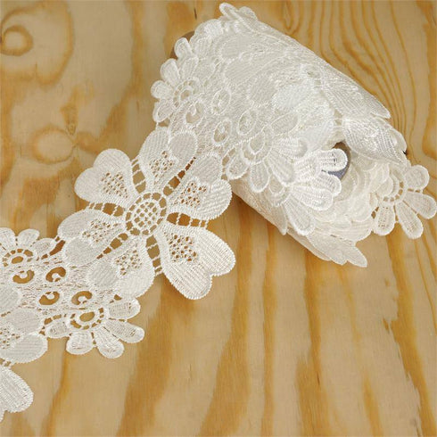 "Anemone Virginiana Crocheted Heavy Lace Ribbon Trim 4"" x 5yards - White"