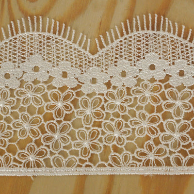 "Daffodil Banner Crocheted Heavy Lace Ribbon Trim 2.75"" x 5yards - White"