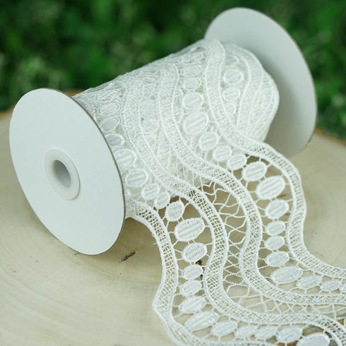 5 Yards White Crochet Lace Ribbon With Double Helix Stitching Patterns