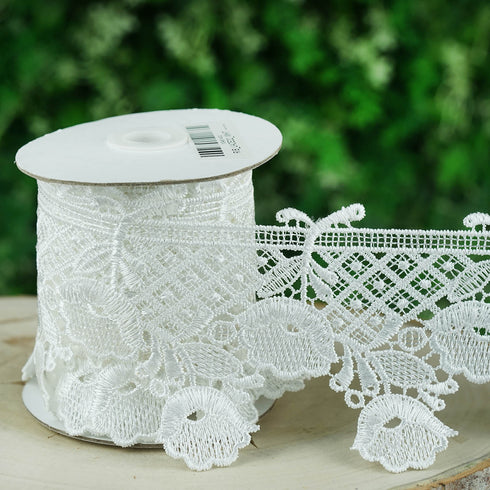 "Crochet Lace Ribbon | Sewing Trims and Embellishments | 3.5""x 5 Yards 