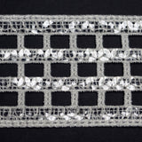 "Window To Your Soul Clear Sequined Crocheted Heavy Lace Ribbon Trim 2.36"" x 5yards - White"