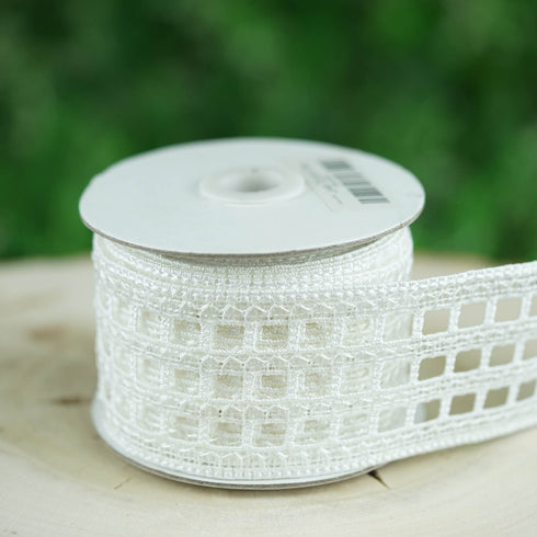 "5 Yards White 2.36"" Clear Sequined Crocheted Lace Trim"
