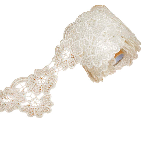 "5 Yards White 3.15"" Cherry Blossom Inspired Clear Sequined Crocheted Heavy Lace Ribbon Trim"