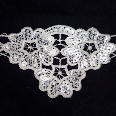 "3.15"" Cherry Blossom Inspired Clear Sequined Crocheted Heavy Lace Ribbon Trim - White - 5 Yard"