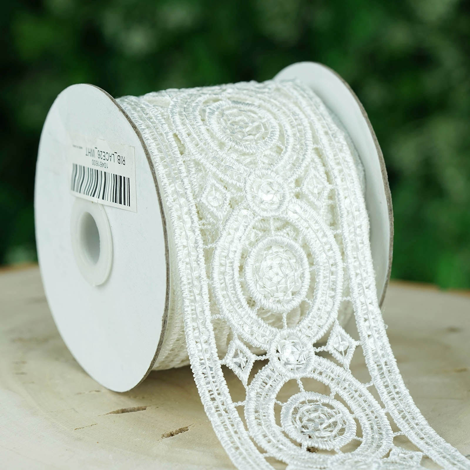 White Double Ruffle Lace Trim with White Ribbon Top~By 5 Yards