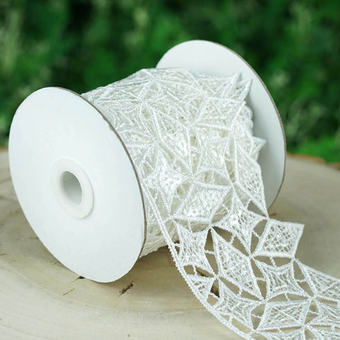 5 Yards White Iridescent Sequin Lace Trim Crochet Lace Ribbon With Prismatic Star Quilt Pattern
