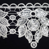 "Harmonious Clear Sequined Crocheted Heavy Lace Ribbon Trim 3.5"" x 5yards - White"