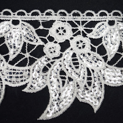 "Water Lily Inspired Clear Sequined Crocheted Heavy Lace Ribbon Trim 3.55"" x 5yards - White"