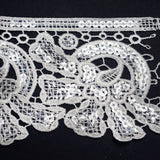 "April Showers Clear Sequined Crocheted Heavy Lace Ribbon Trim 4.3"" x 5yards - White"