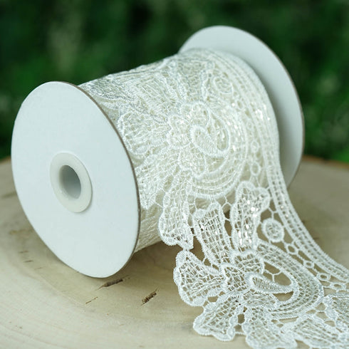 5 Yards White Sequins Stitch Crochet Lace Ribbon With Decorative Guipure Lace Trims