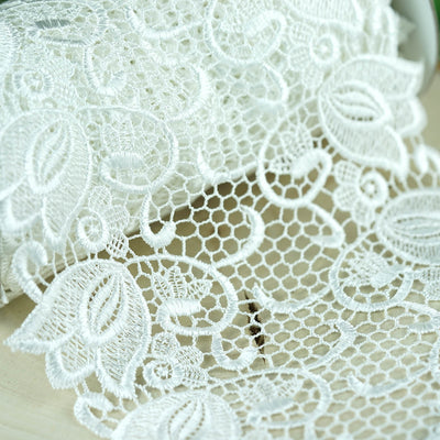 "5 Yards White 7.5"" Vine Crocheted Lace Trim Craft Dress"
