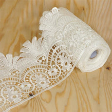 "Arabesque Crocheted Heavy Lace Ribbon Trim 6.3"" x 5yards - White"