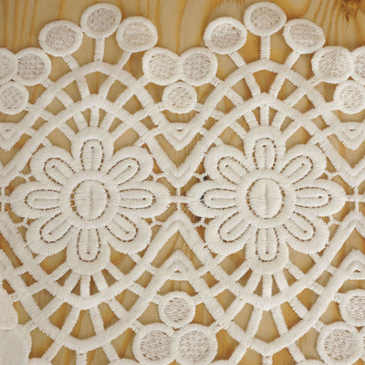 "Rhythmic Mandala Crocheted Heavy Lace Ribbon Trim 7.5"" x 5yards - White"
