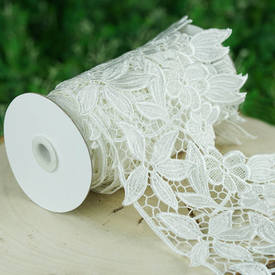 "5 Yards White 6.3"" Muchos Flores Crocheted Heavy Lace Ribbon Trim"