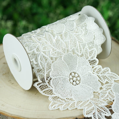 "5 Yards White 5.3"" Poppilicious Crocheted Heavy Lace Ribbon Trim"