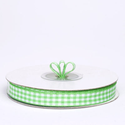 "25 Yards 3/8"" Apple Green Gingham Checkered Ribbon"